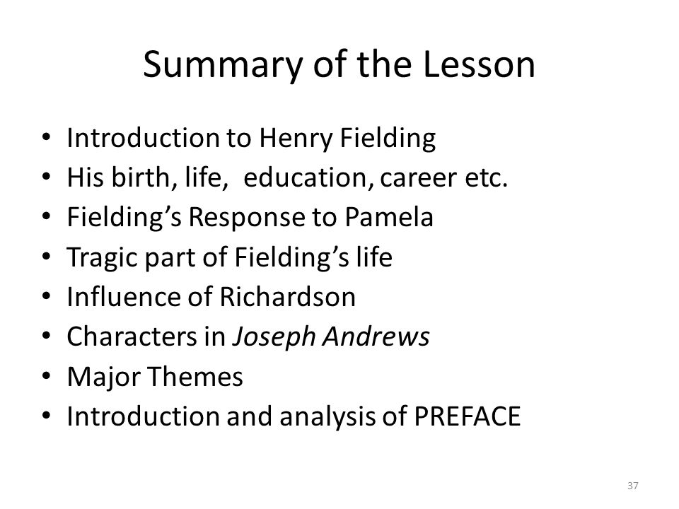 Summary of the Lesson Introduction to Henry Fielding