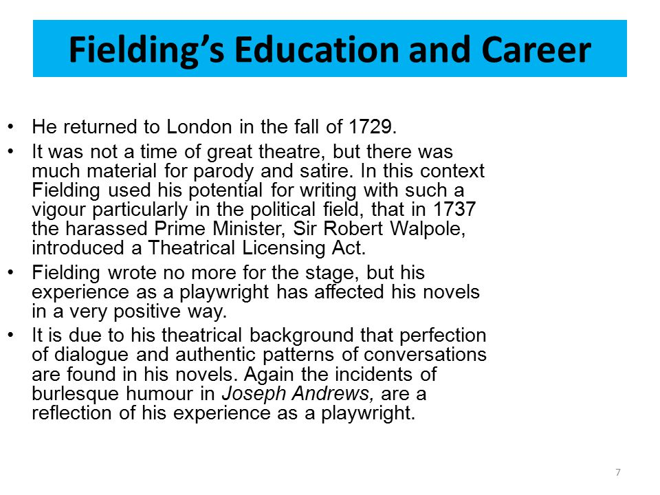 Fielding's Education and Career