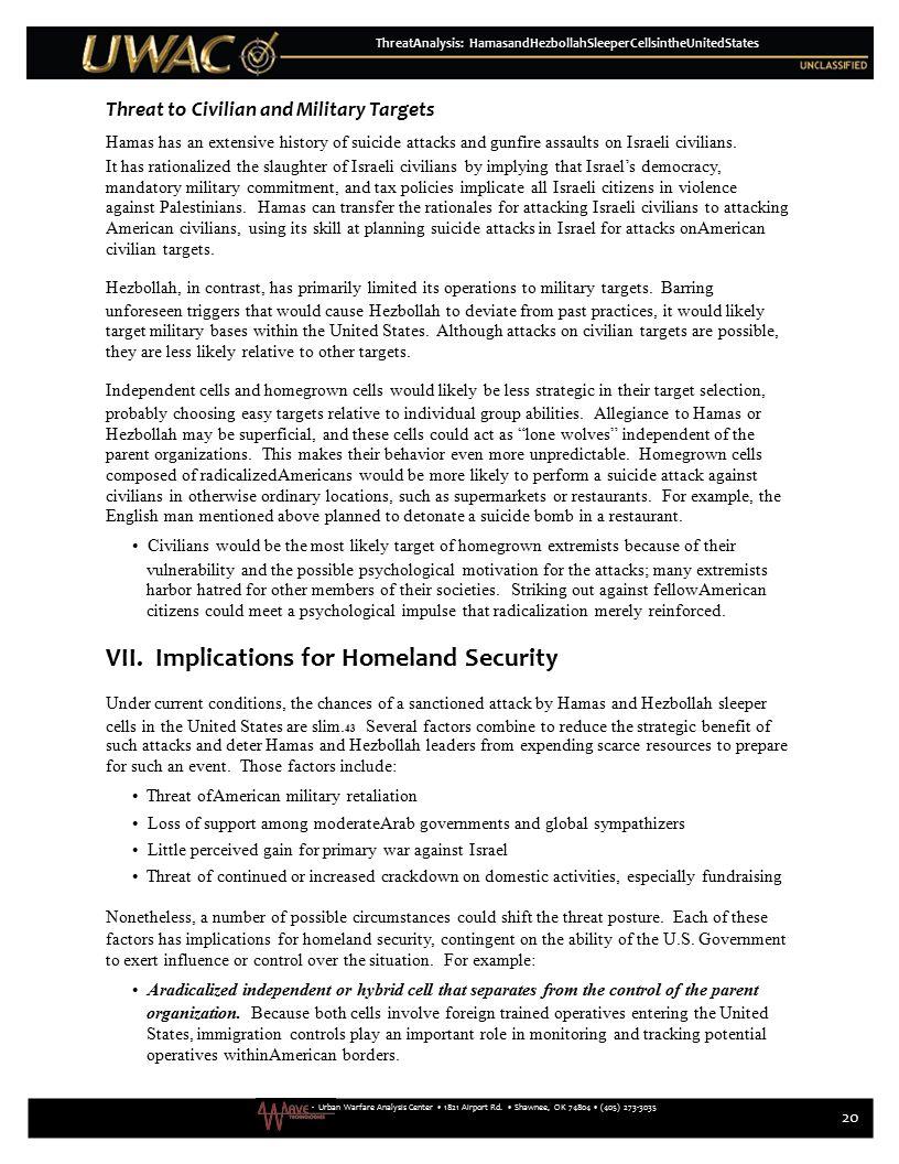 ThreatAnalysis: HamasandHezbollahSleeperCellsintheUnitedStates