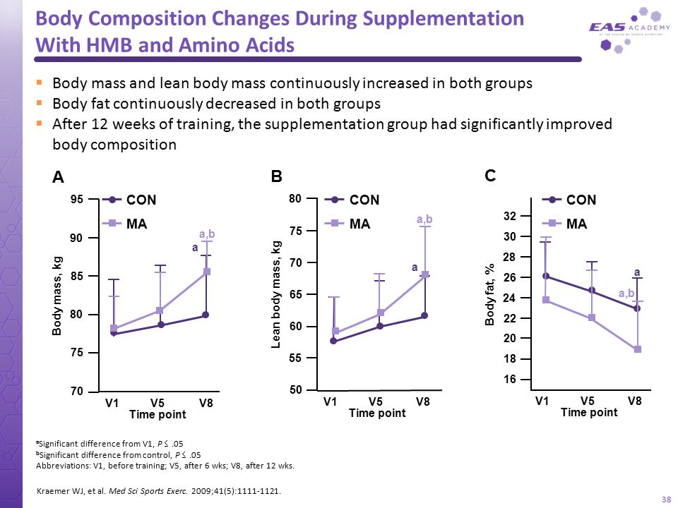 Body Composition Changes During Supplementation With HMB and Amino Acids