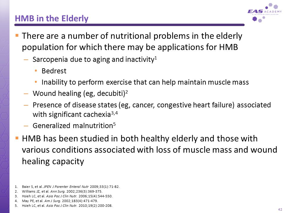 HMB in the Elderly There are a number of nutritional problems in the elderly population for which there may be applications for HMB.