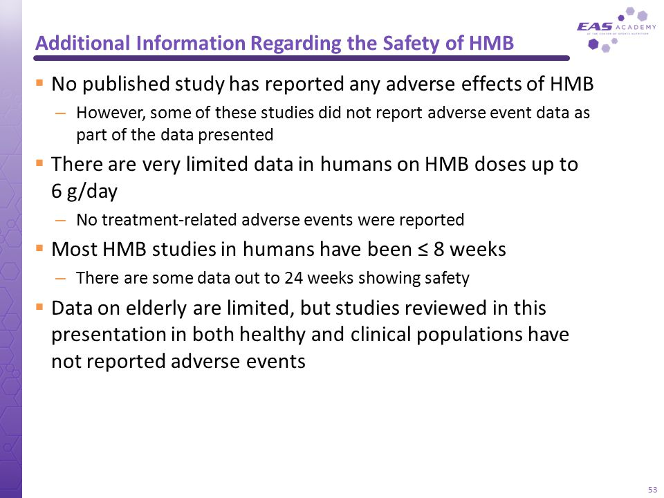 Additional Information Regarding the Safety of HMB