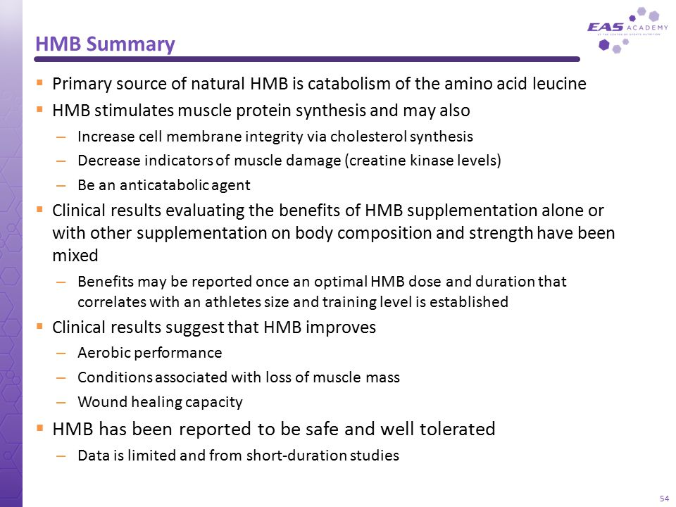 HMB Summary HMB has been reported to be safe and well tolerated