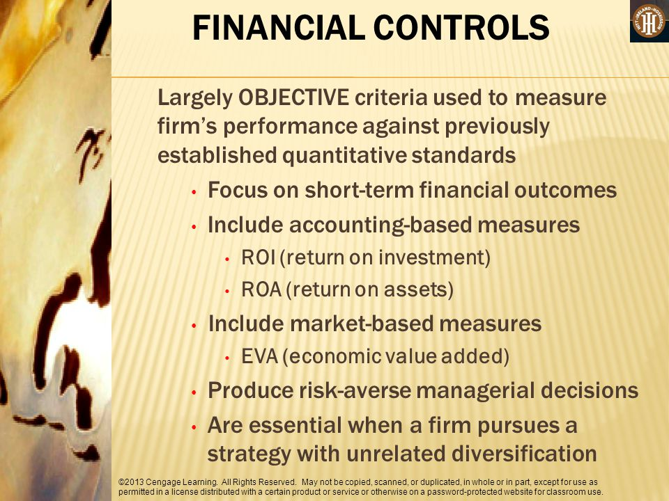 FINANCIAL CONTROLS Largely OBJECTIVE criteria used to measure firm's performance against previously established quantitative standards.