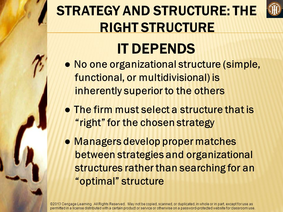 STRATEGY AND STRUCTURE: THE RIGHT STRUCTURE