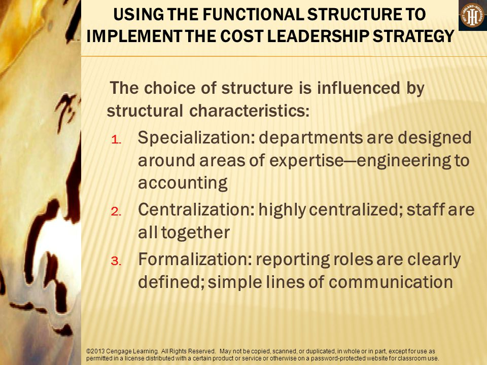 The choice of structure is influenced by structural characteristics: