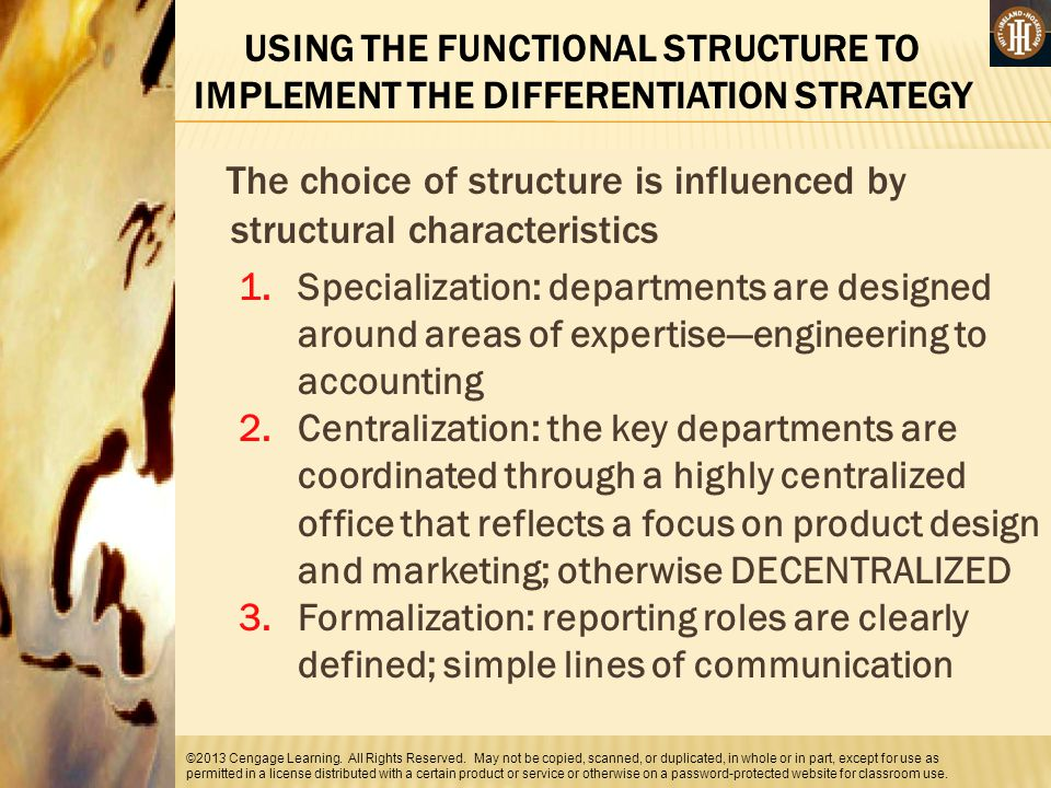 The choice of structure is influenced by structural characteristics