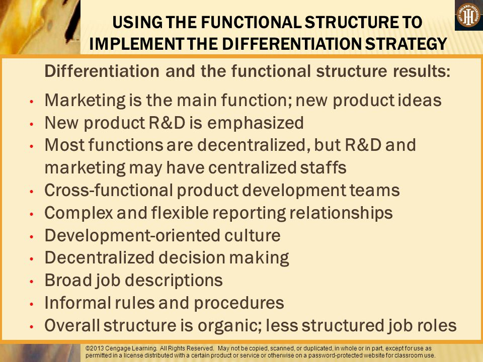 Differentiation and the functional structure results:
