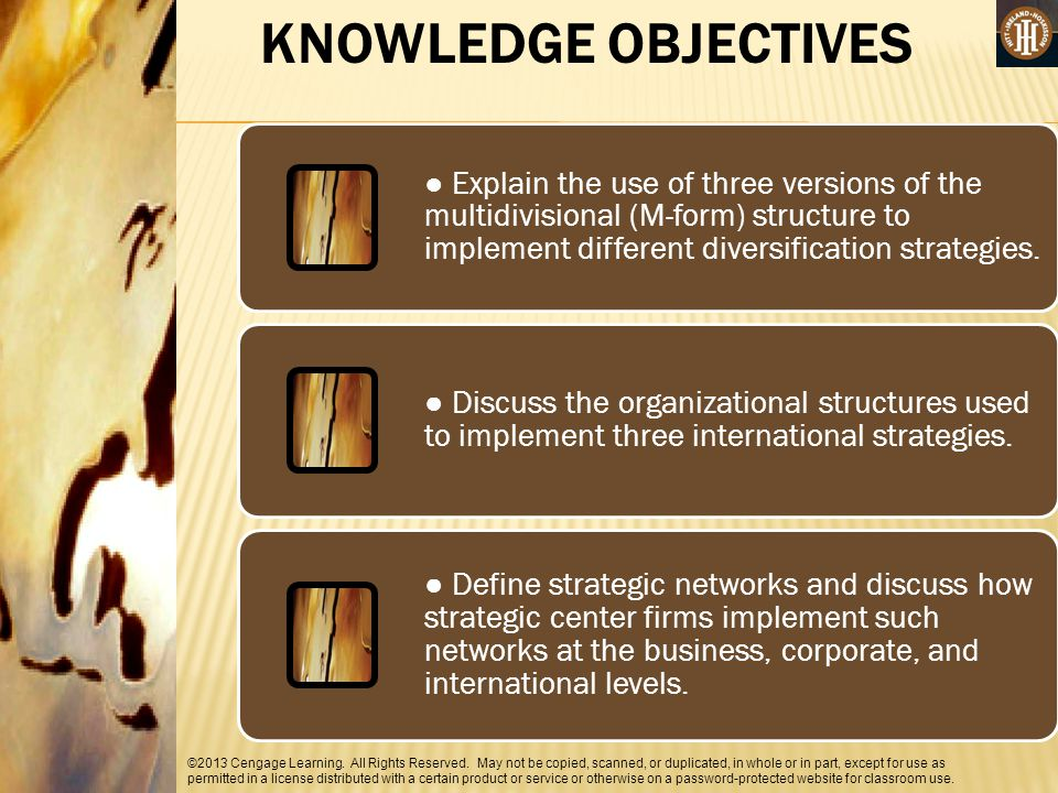 KNOWLEDGE OBJECTIVES ● Explain the use of three versions of the multidivisional (M-form) structure to implement different diversification strategies.
