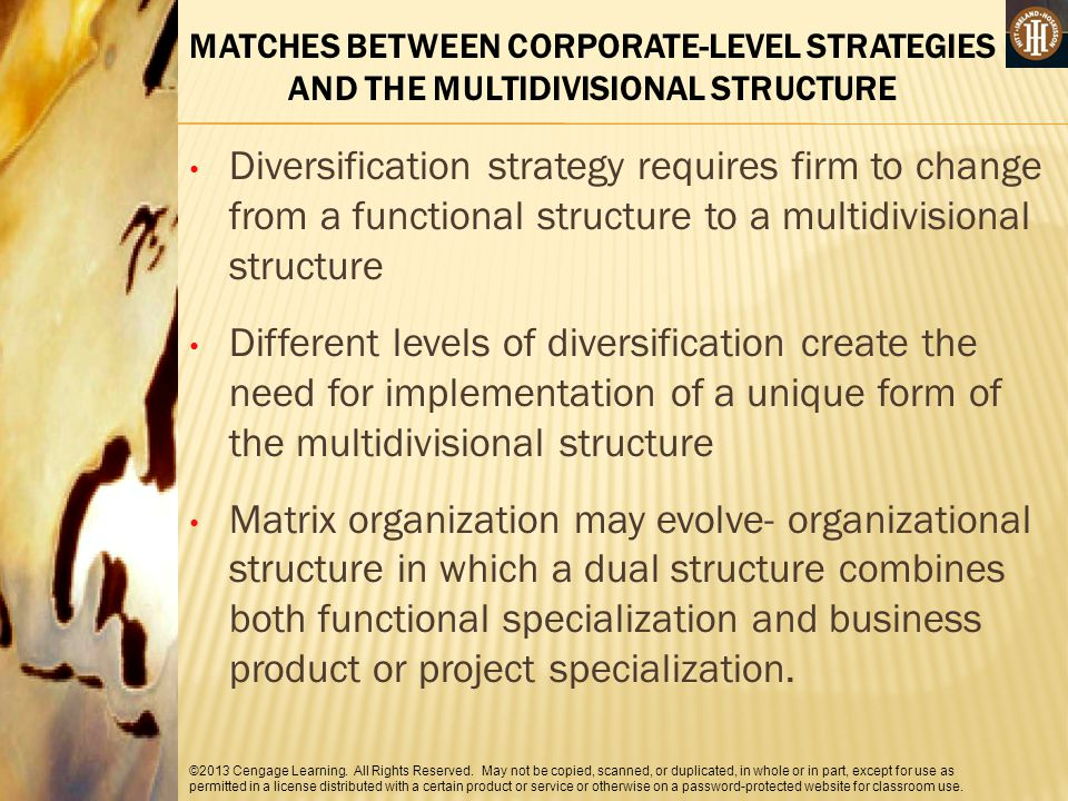 MATCHES BETWEEN CORPORATE-LEVEL STRATEGIES AND THE MULTIDIVISIONAL STRUCTURE