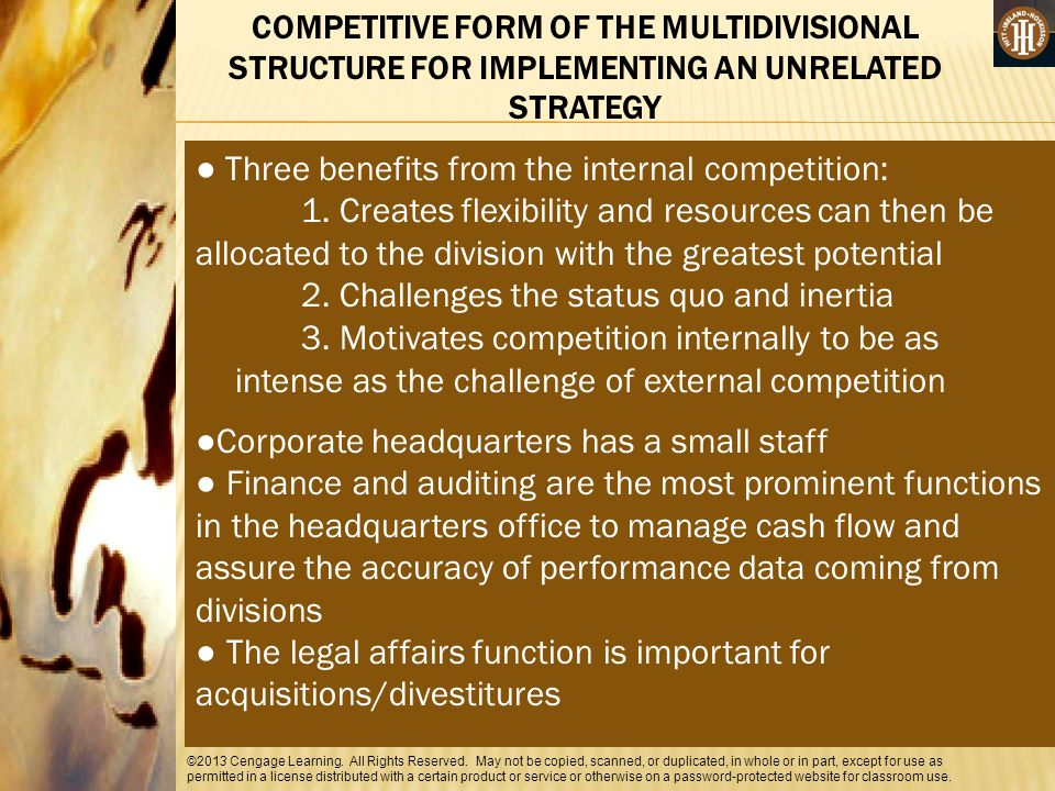 ● Three benefits from the internal competition: