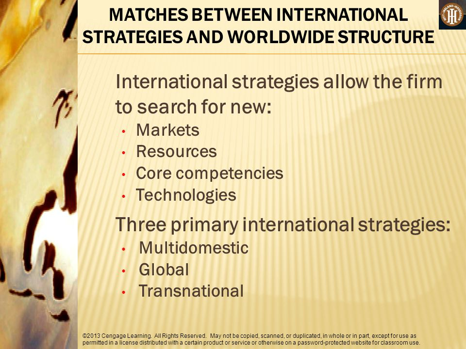 MATCHES BETWEEN INTERNATIONAL STRATEGIES AND WORLDWIDE STRUCTURE