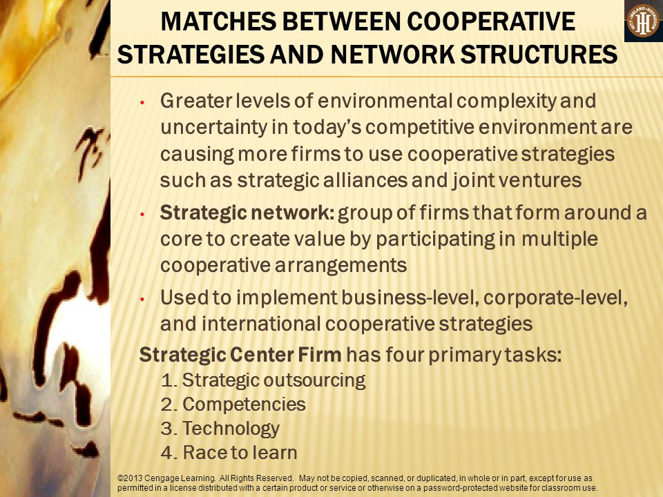 MATCHES BETWEEN COOPERATIVE STRATEGIES AND NETWORK STRUCTURES