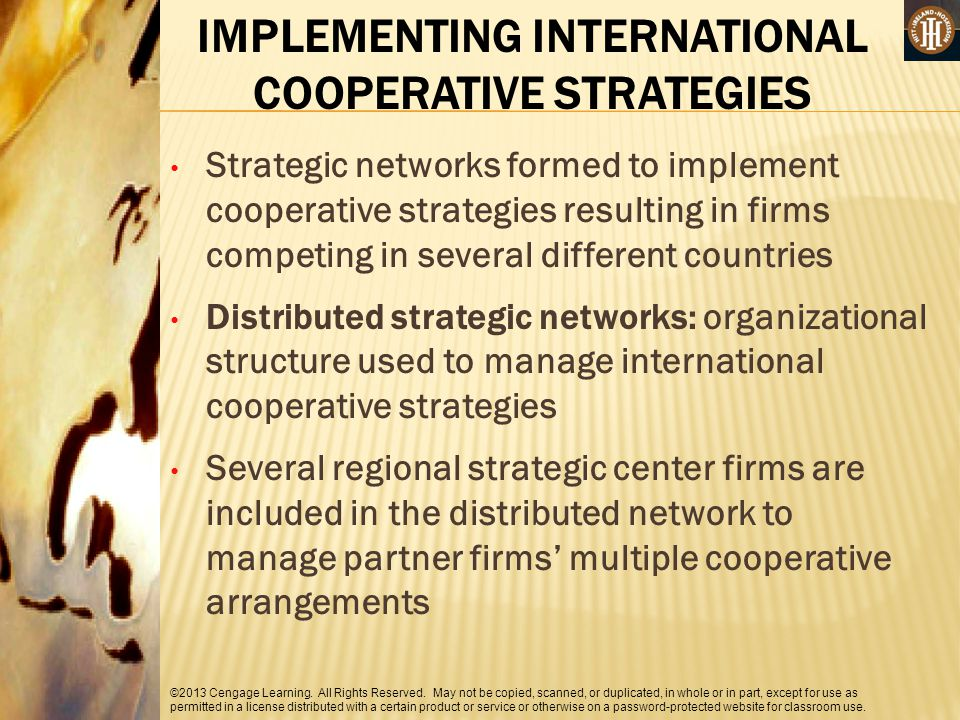 IMPLEMENTING INTERNATIONAL COOPERATIVE STRATEGIES