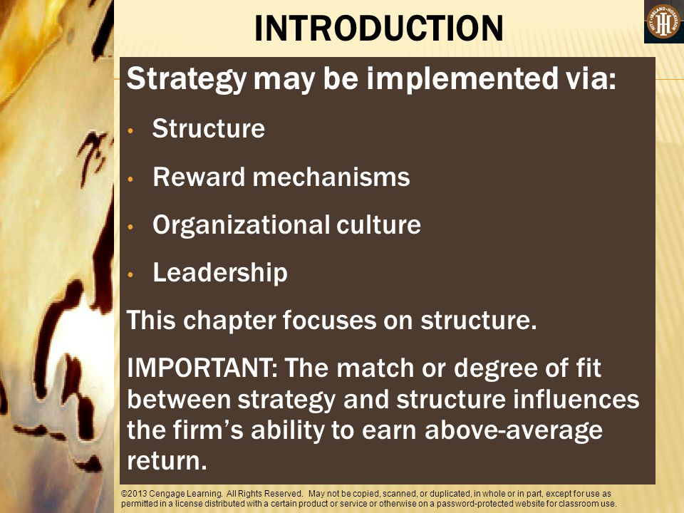 INTRODUCTION Strategy may be implemented via: Structure