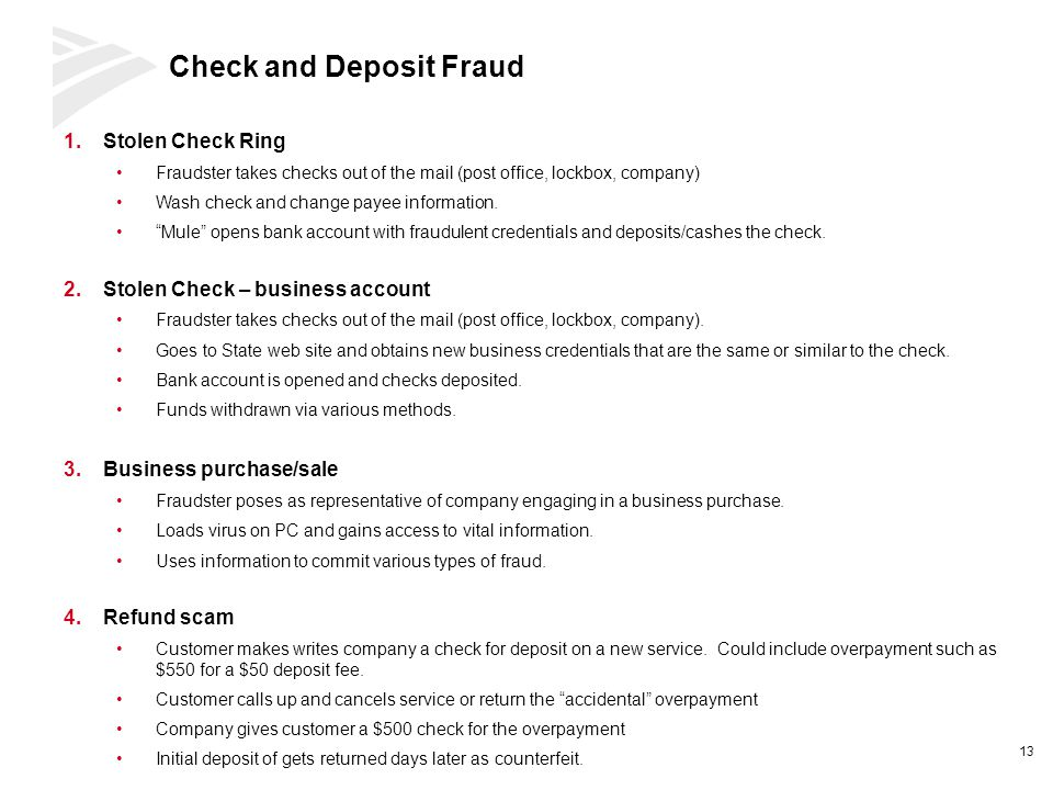 Check and Deposit Fraud