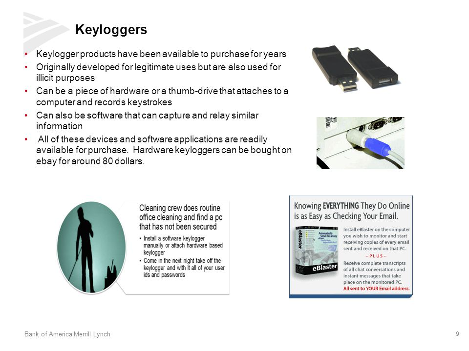 Keyloggers Keylogger products have been available to purchase for years.