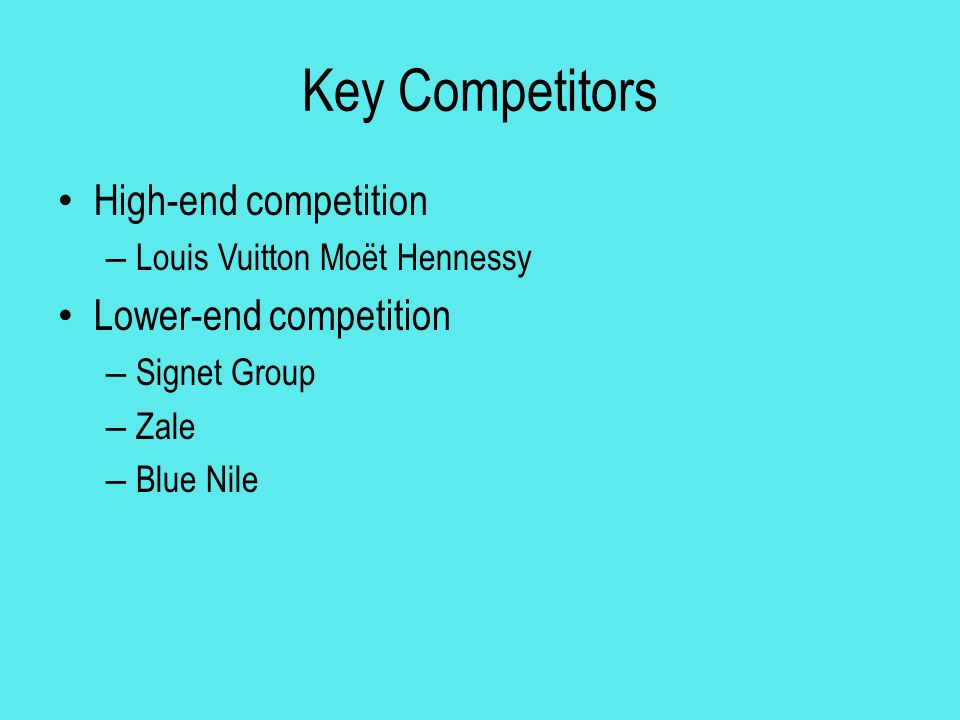Key Competitors High-end competition Lower-end competition