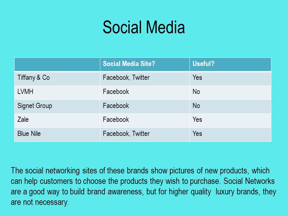 Social Media Social Media Site Useful Tiffany & Co. Facebook, Twitter. Yes. LVMH. Facebook.