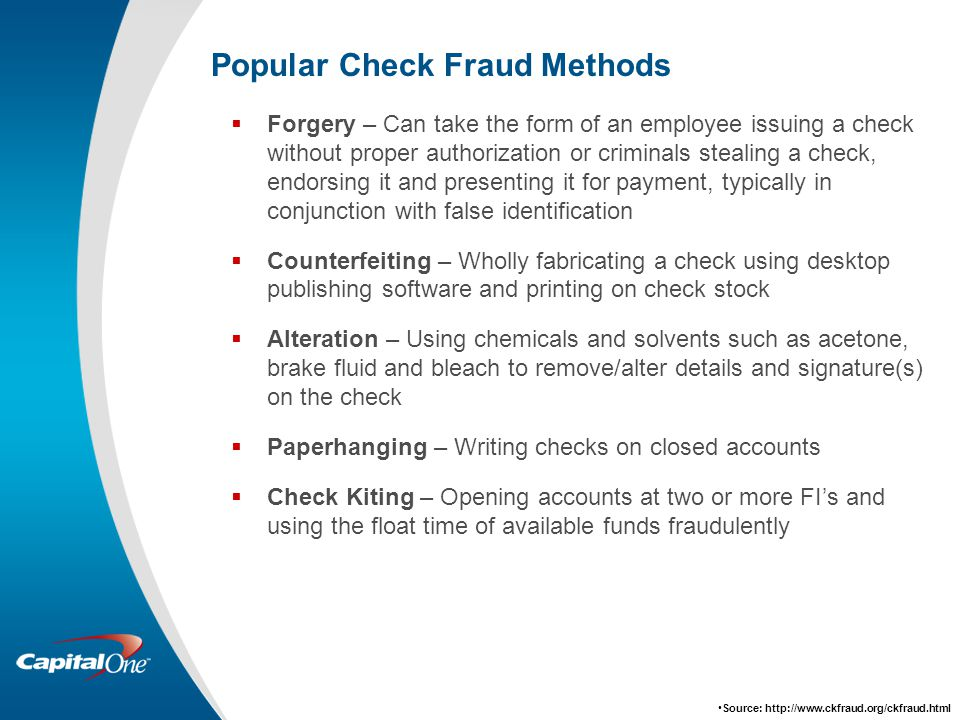 Popular Check Fraud Methods