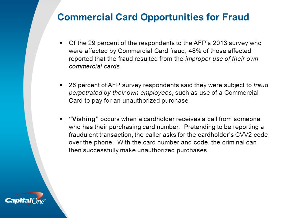 Commercial Card Opportunities for Fraud