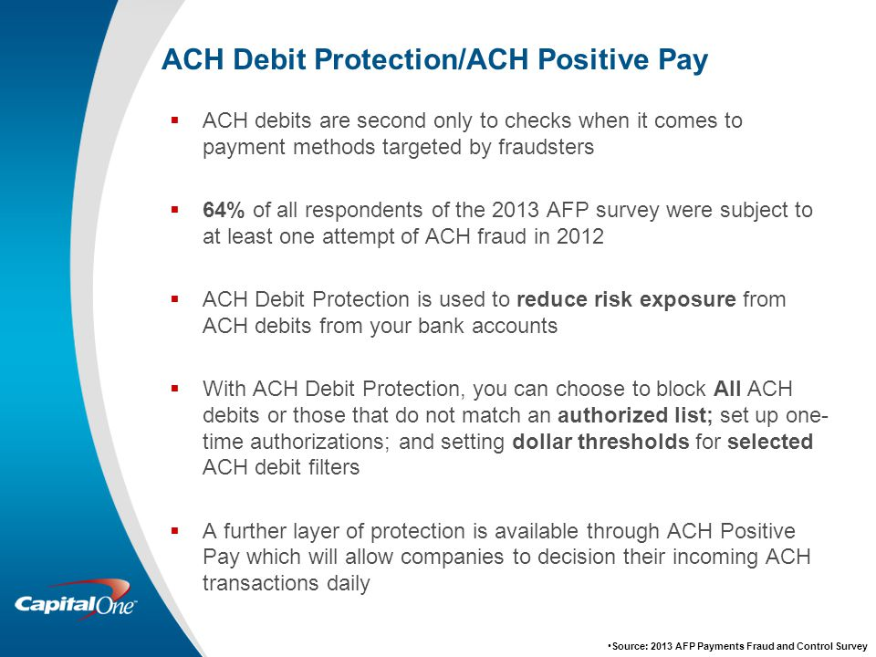 ACH Debit Protection/ACH Positive Pay