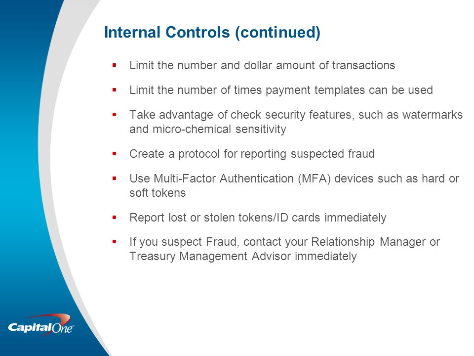 Internal Controls (continued)