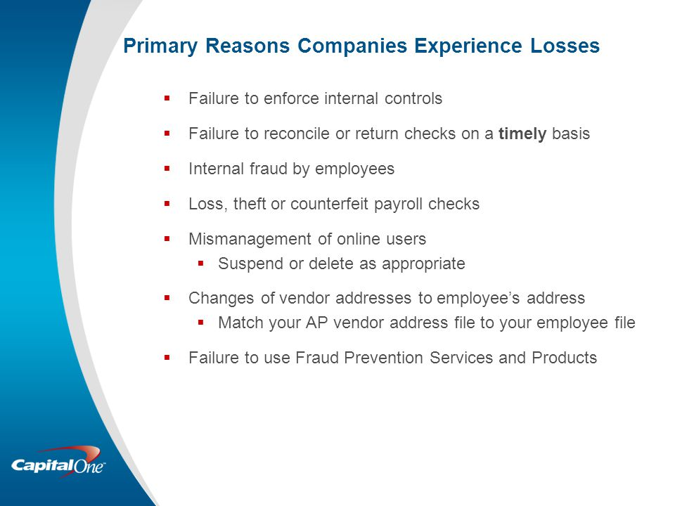 Primary Reasons Companies Experience Losses