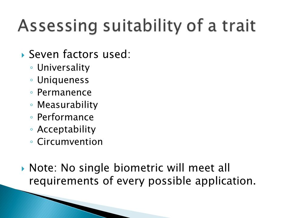 Assessing suitability of a trait