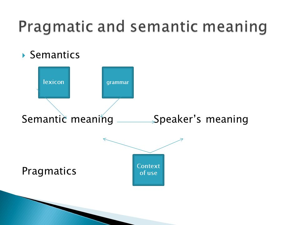 Pragmatic and semantic meaning