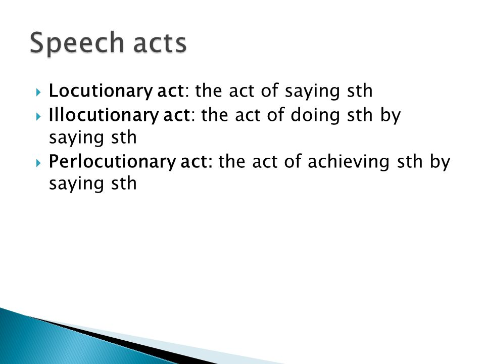 Speech acts Locutionary act: the act of saying sth