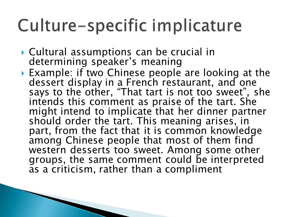 Culture-specific implicature