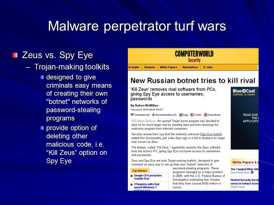 Malware perpetrator turf wars