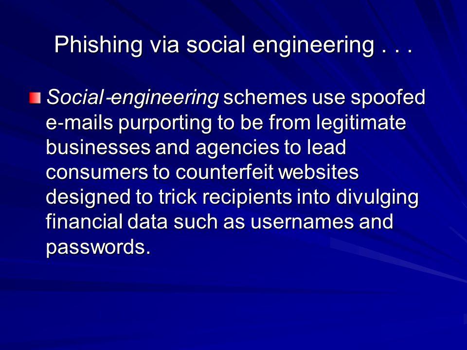 Phishing via social engineering . . .