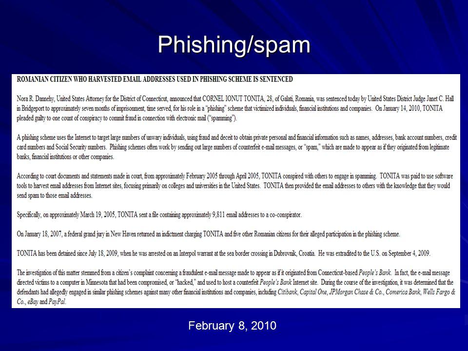 Phishing/spam February 8, 2010