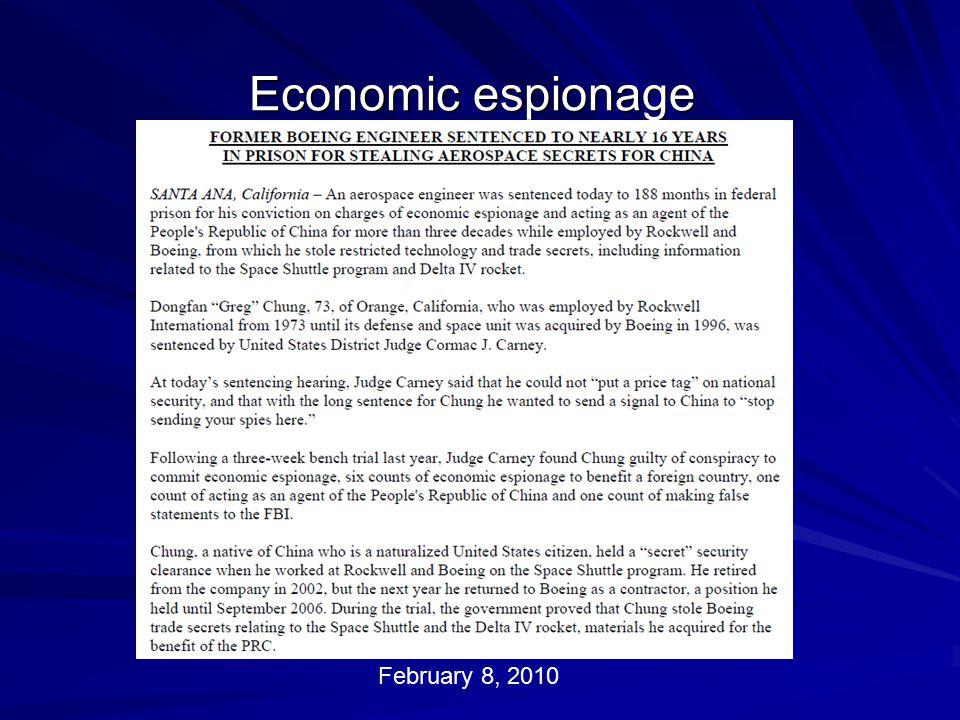 Economic espionage February 8, 2010