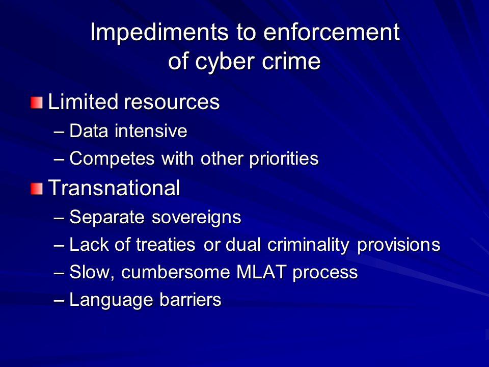 Impediments to enforcement of cyber crime