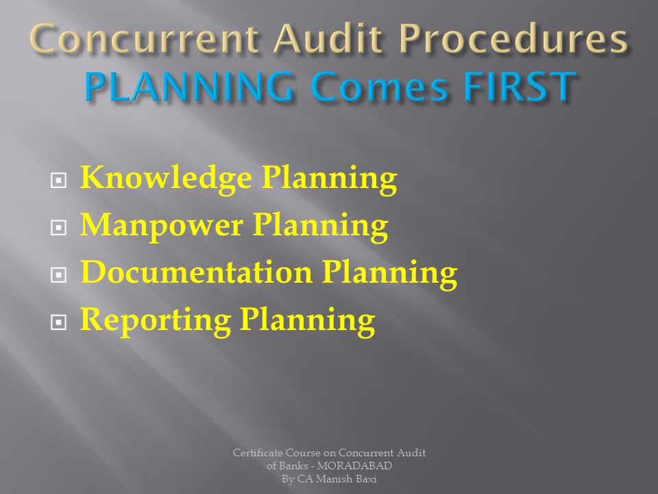 Concurrent Audit Procedures PLANNING Comes FIRST