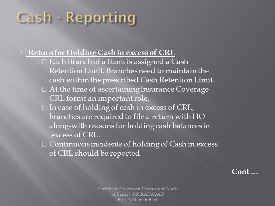 Cash - Reporting