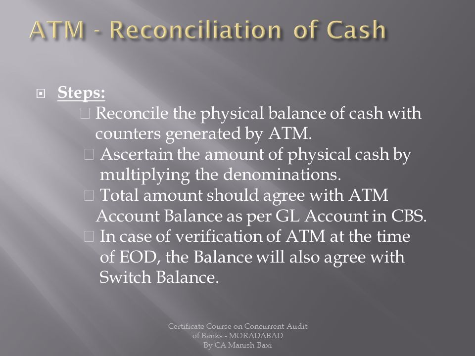 ATM - Reconciliation of Cash