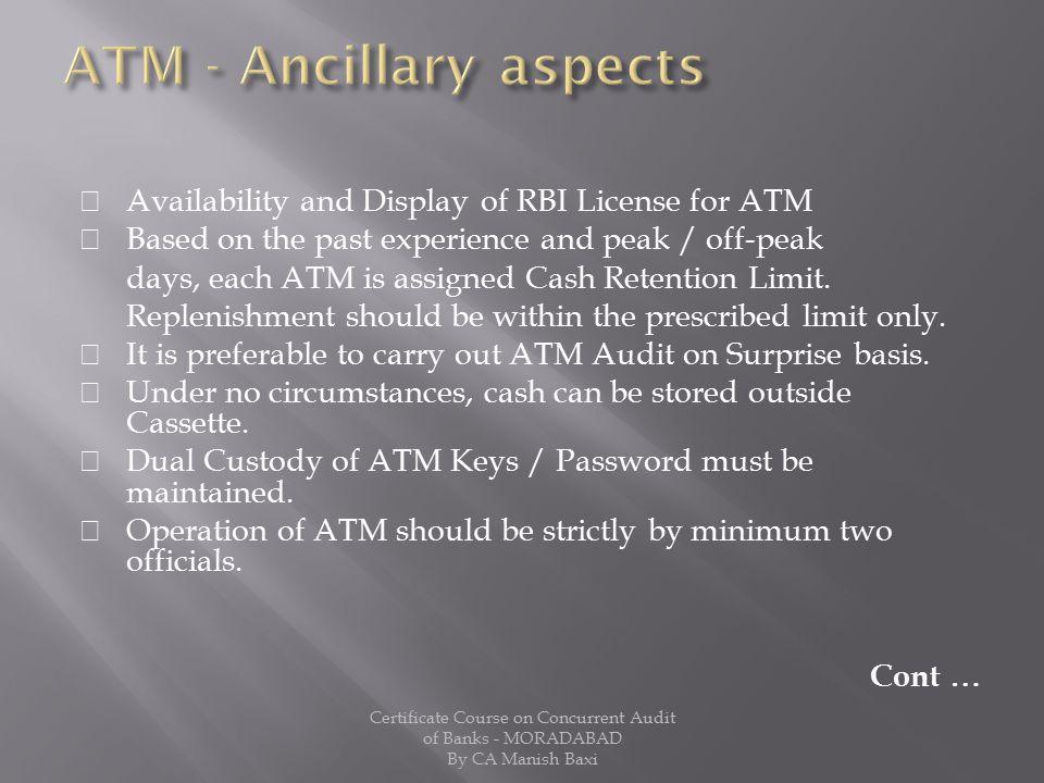 ATM - Ancillary aspects