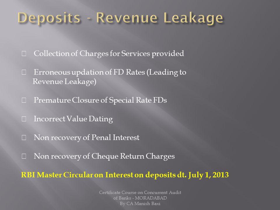 Deposits - Revenue Leakage