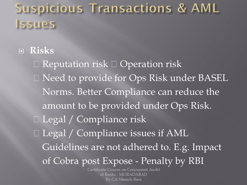 Suspicious Transactions & AML Issues