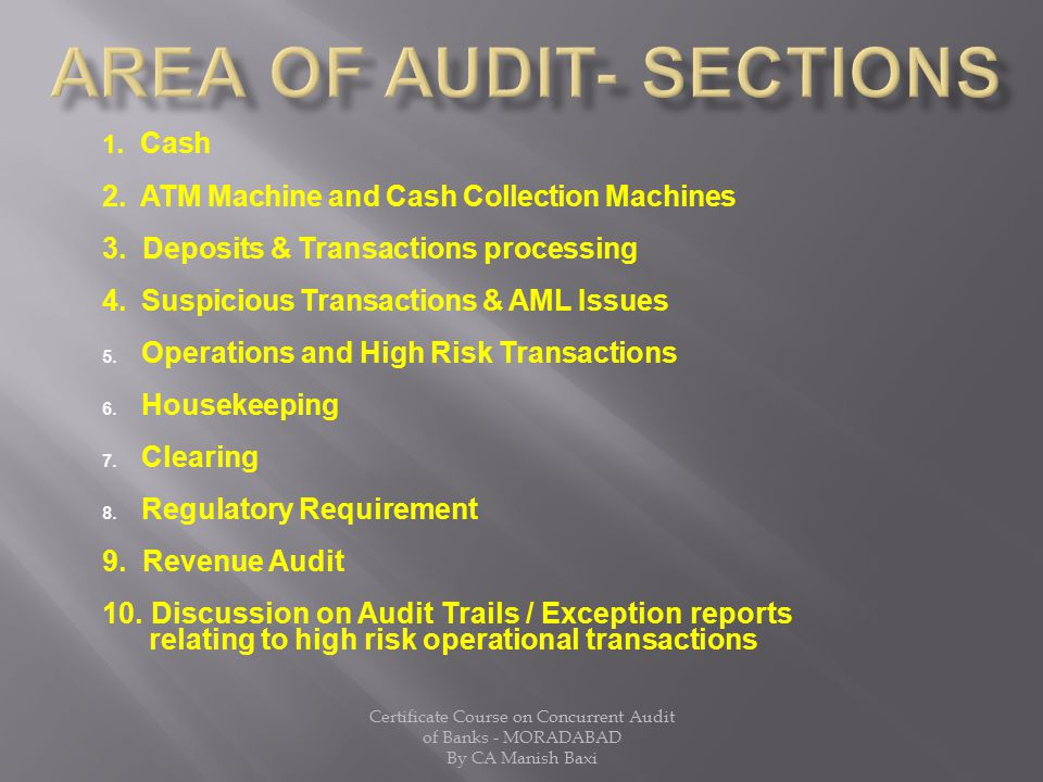 Area of Audit- SECTIONS