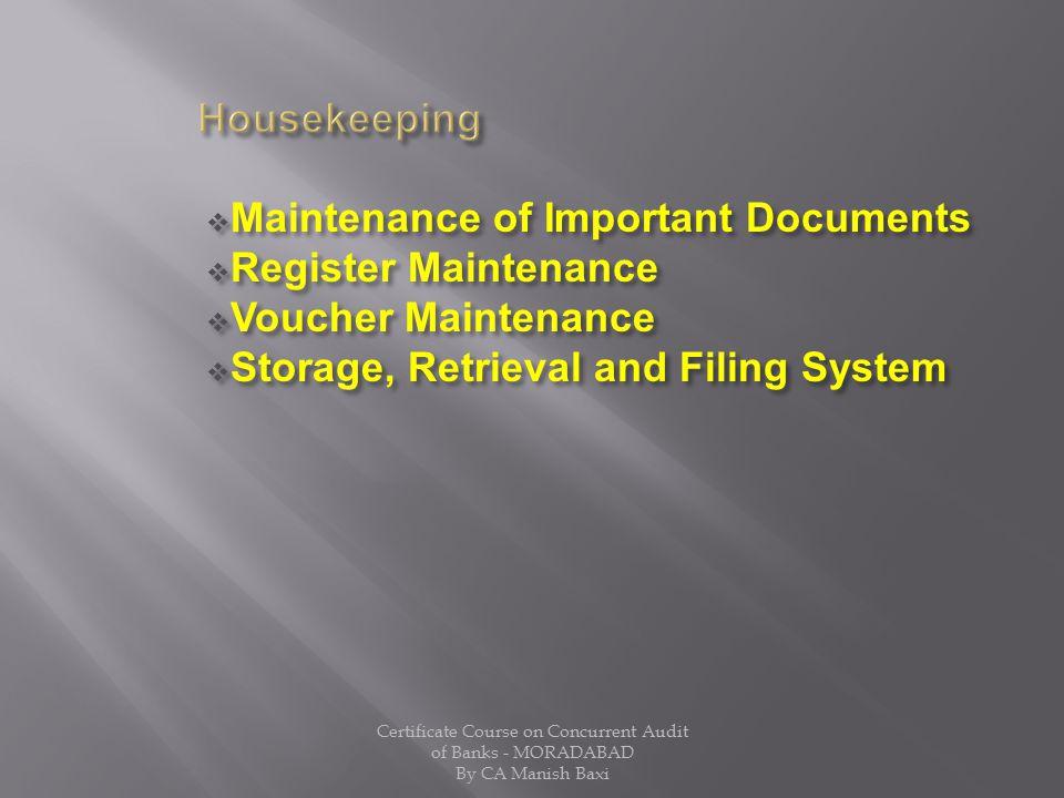 Maintenance of Important Documents Register Maintenance