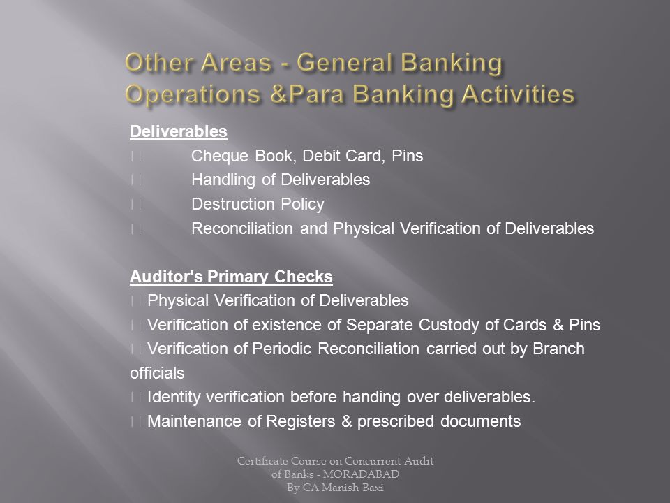 Other Areas - General Banking Operations &Para Banking Activities