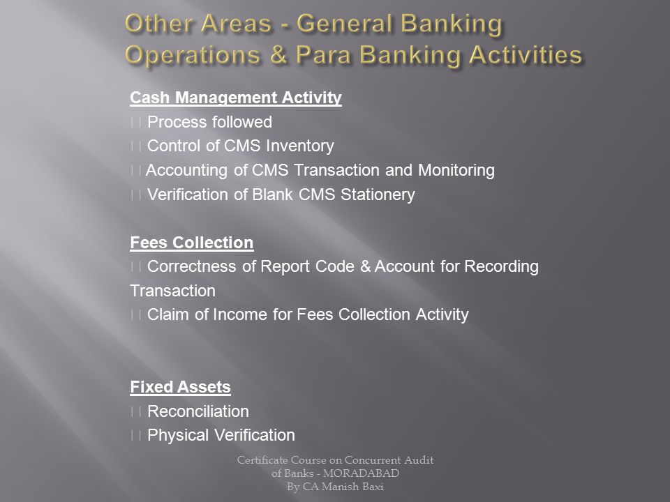 Other Areas - General Banking Operations & Para Banking Activities