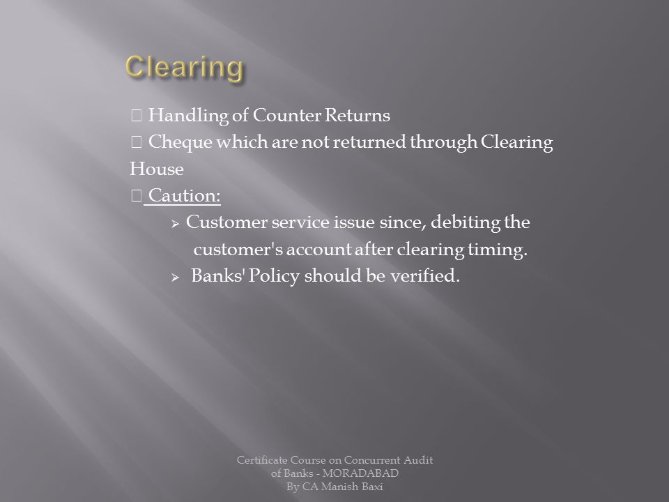 Clearing  Handling of Counter Returns
