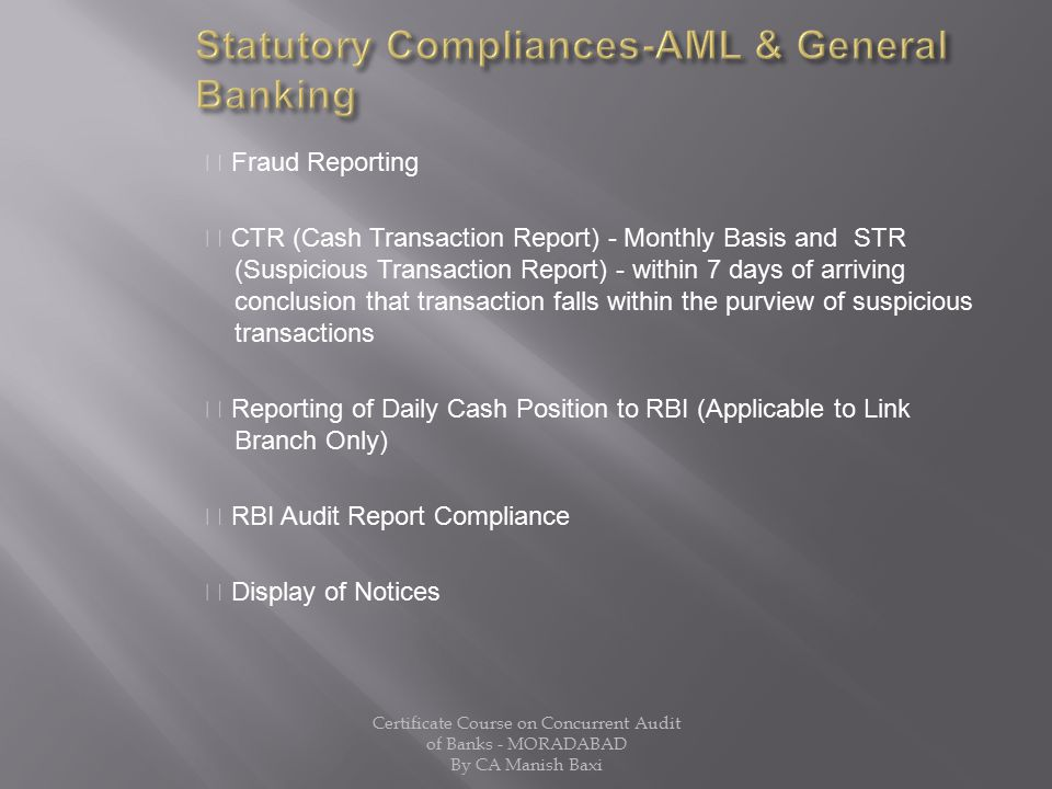 Statutory Compliances-AML & General Banking