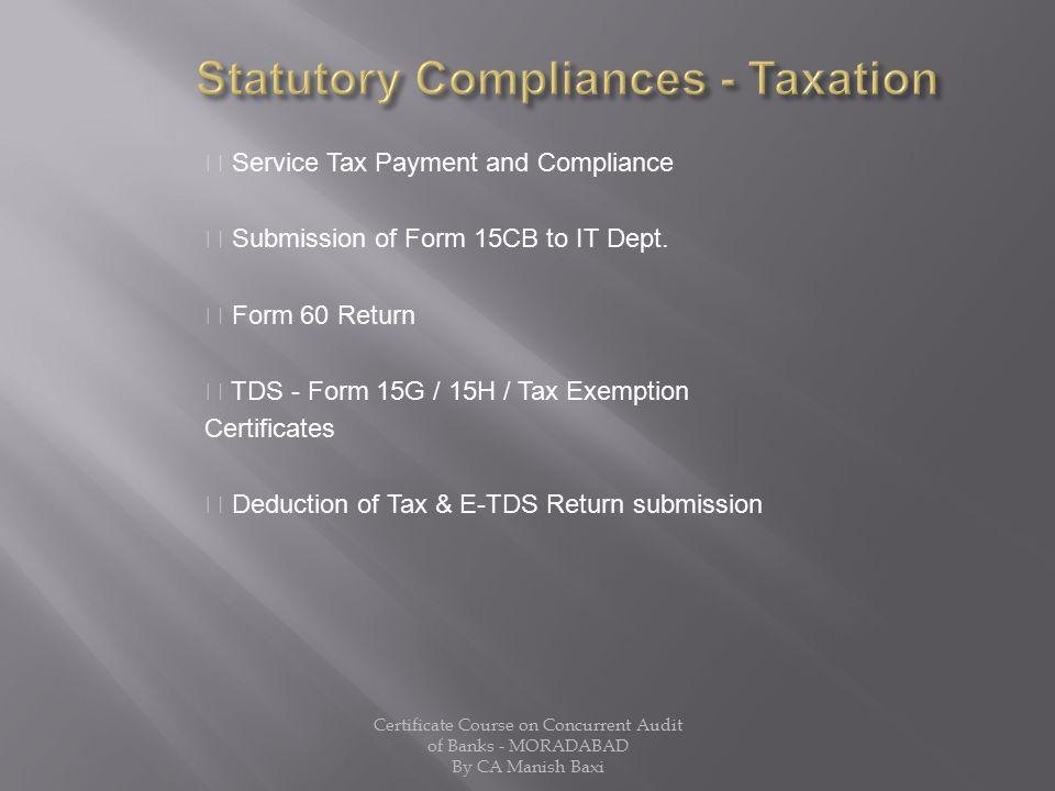 Statutory Compliances - Taxation